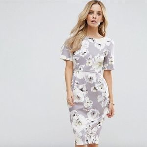 ASOS PETITE Dress with V Back in Gray Floral Print